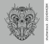 tattoo and t shirt design black ... | Shutterstock .eps vector #2014044284