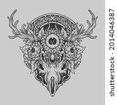 tattoo and t shirt design black ... | Shutterstock .eps vector #2014046387