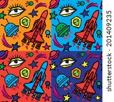 cartoon space pattern design.... | Shutterstock .eps vector #201409235