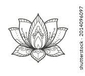 sacred lotus flower. decorative ... | Shutterstock .eps vector #2014096097