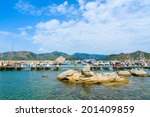 porto giunco harbour  sardinia  ... | Shutterstock . vector #201409859