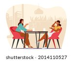 young pretty girls sitting in... | Shutterstock .eps vector #2014110527