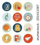 vector set of back to school... | Shutterstock .eps vector #201411587