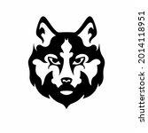 tribal wolf head logo. tattoo... | Shutterstock .eps vector #2014118951
