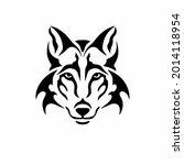 tribal wolf head logo. tattoo... | Shutterstock .eps vector #2014118954