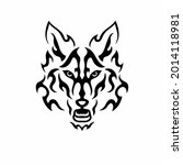 tribal wolf head logo. tattoo... | Shutterstock .eps vector #2014118981
