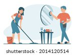 housewife washing floor at home ...   Shutterstock .eps vector #2014120514