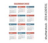2022 year calendar. week starts ... | Shutterstock .eps vector #2014130531
