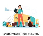 frustrated dog owner looking at ...   Shutterstock .eps vector #2014167287