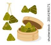 zongzi  rice dumpling in a... | Shutterstock .eps vector #2014190171