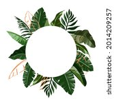 border tropical leaves. foliage ... | Shutterstock .eps vector #2014209257