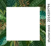 border tropical leaves. foliage ... | Shutterstock .eps vector #2014209794