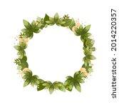 summer wreath of green leaves.... | Shutterstock .eps vector #2014220357