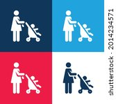 baby stroller blue and red four ... | Shutterstock .eps vector #2014234571