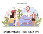 tour guide concept. tourists...   Shutterstock .eps vector #2014335491