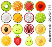 flat icon fruits | Shutterstock .eps vector #201434774