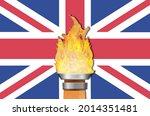 United Kingdom Flag And Torch...