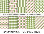 collection of bright seamless... | Shutterstock .eps vector #2014394021