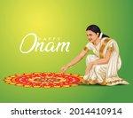 happy onam greetings vector...   Shutterstock .eps vector #2014410914