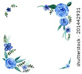 watercolor blue flowers with... | Shutterstock .eps vector #201442931