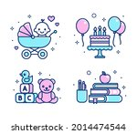 childhood icon set. baby in... | Shutterstock .eps vector #2014474544