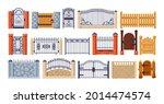 set of balcony railing. vintage ...   Shutterstock .eps vector #2014474574