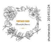 vintage card  wreath | Shutterstock .eps vector #201451124