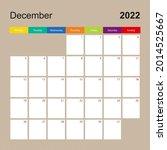 alendar page for december 2022 ...   Shutterstock .eps vector #2014525667