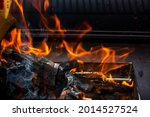 Barbecue Grill Pit With Glowing ...