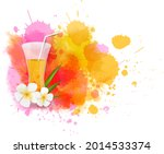 summer background with cocktail ...   Shutterstock . vector #2014533374