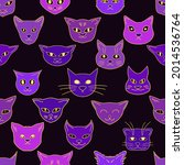 creepy cute witchy heads cats... | Shutterstock .eps vector #2014536764