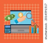 laptop with money financial and ... | Shutterstock .eps vector #2014591517