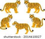 illustration set of tigers in... | Shutterstock .eps vector #2014610027