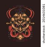 samurai demon mecha head... | Shutterstock .eps vector #2014631081