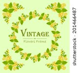 vintage frame card with flowers.... | Shutterstock .eps vector #201466487
