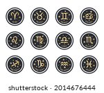 set of 12 zodiac signs with... | Shutterstock .eps vector #2014676444