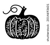 pumpkin with decorative twigs....   Shutterstock .eps vector #2014693601