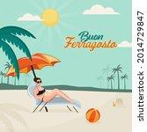 buon ferragosto concept with... | Shutterstock .eps vector #2014729847