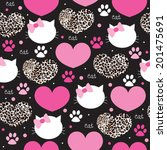 Leopard coat heart with cat face pattern vector  - stock vector