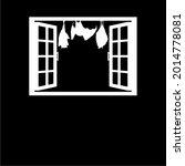 bat on the window silhouette... | Shutterstock .eps vector #2014778081