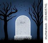 spooky cemetery blank grave.... | Shutterstock .eps vector #2014835741