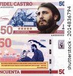 Fidel Castro, Portrait from Russia 50 Pesos Banknotes. Souvenir paper banknote, UNC