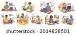 child with computer set. vector ...   Shutterstock .eps vector #2014838501