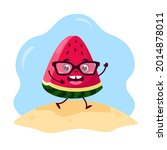 summer cute kawaii watermelon...   Shutterstock .eps vector #2014878011