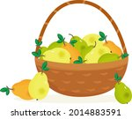 wicker basket with ripe fresh...   Shutterstock .eps vector #2014883591