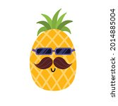 cute pineapple with mustache...   Shutterstock .eps vector #2014885004