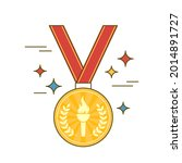 gold medal with torch and red... | Shutterstock .eps vector #2014891727