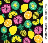 exotic fruits seamless pattern...   Shutterstock .eps vector #2014898741