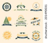 summer sea retro vacation... | Shutterstock .eps vector #201490031