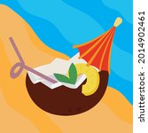 coconut cocktail on the beach....   Shutterstock .eps vector #2014902461